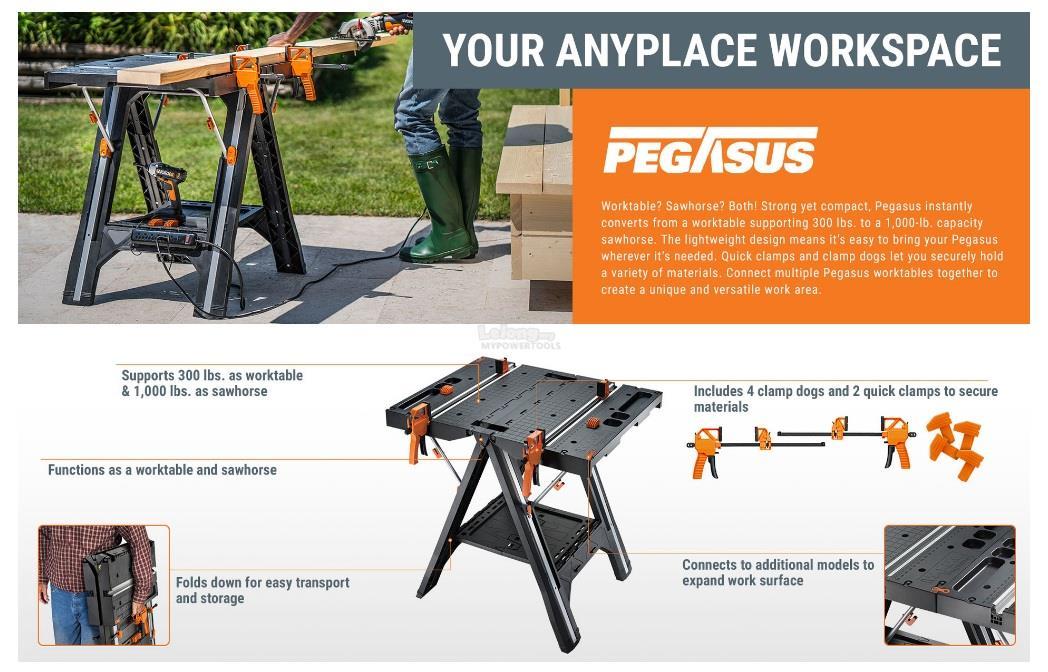 Worx pegasus folding workbench sawhorse