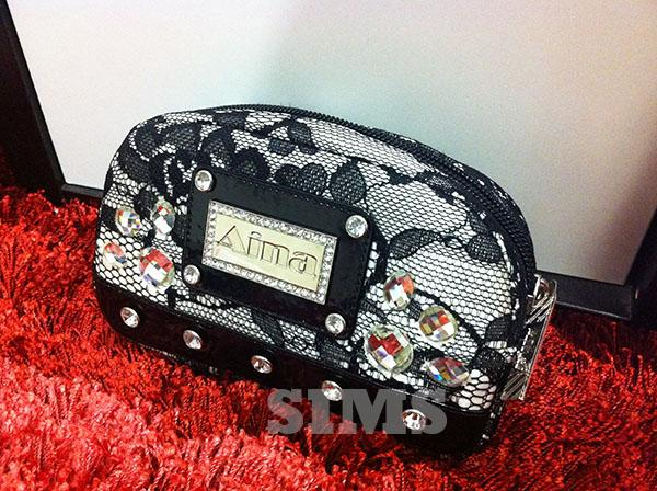 Wristlet Bag: black lace, sunglasses bag, Bling pouch with Rhinestones