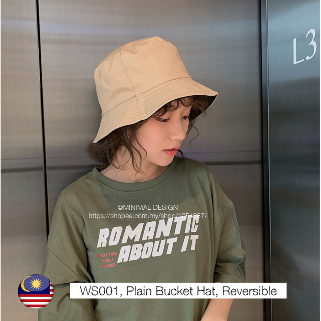 Ws001, Plain Bucket Hat, Reversible, Dual Use - [WHITE BUCKETHAT, REV]