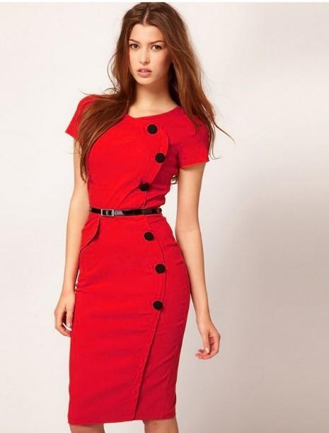 WS0181 Europe Short Sleeves Slim OL Evening Dress