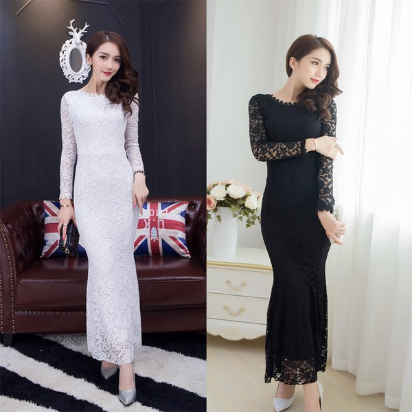Ww 034 Long Sleeve Lace Dress Bridesmaid Wedding Black White Dinner Party
