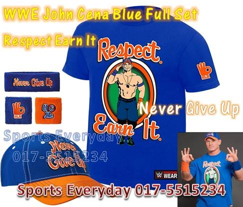 fef99506 ... canada wwe wwf shirts john cena 2017 blue set respect earn it cap wrist  band.