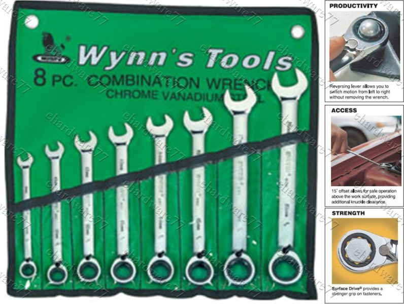 WYNNS 8pcs Gear Reversible Ratcheting Wrench Set (W0312B)