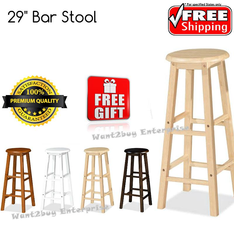 Incredible X 2 Units Uhome 29 Inch Wooden Pub Bar Counter Stool Chair Caraccident5 Cool Chair Designs And Ideas Caraccident5Info