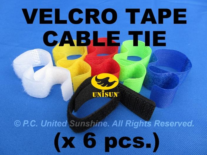 x 6 pcs. VELCRO TAPE for Wire Cable Organizing Tie Strap FREE Shipping