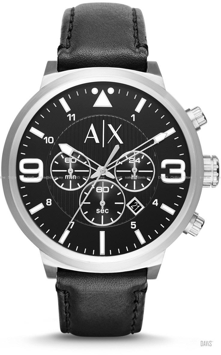 A|X ARMANI EXCHANGE AX1371 Men's Chronograph Leather Strap Black