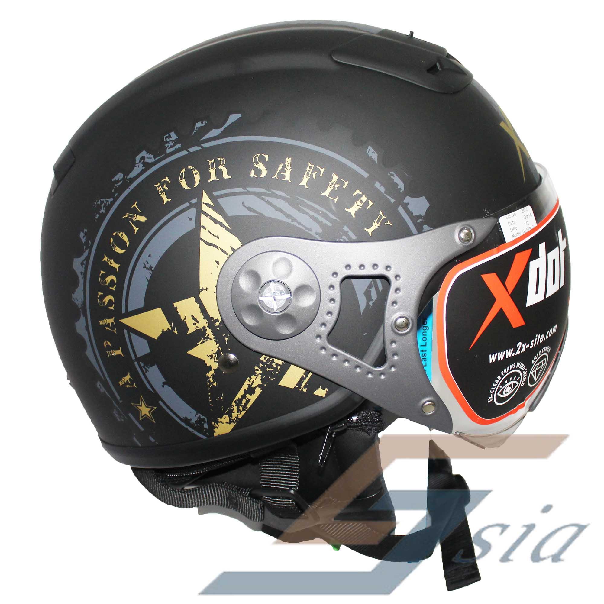 X-Dot G66V Helmet (Matt Black/SS Grey Gold)