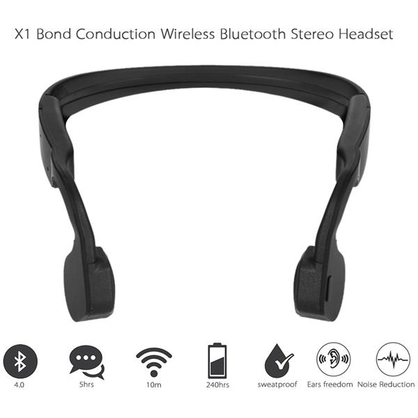 X1 Bone Conduction Stereo Wireless Headset Bluetooth 4.0 Hands-free