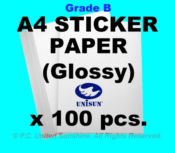 x100pcs A4 STICKER PAPER (Glossy) Grade B Creative Fun Label Stickers