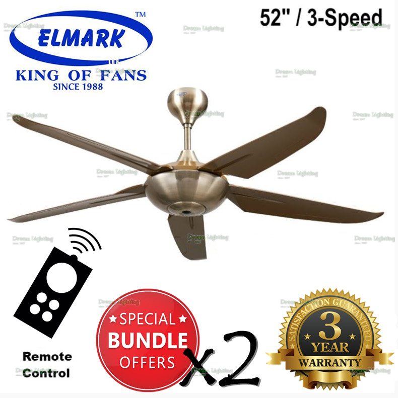 "(x2 SETS) Elmark SUPER999 52"" Remote Ceiling Fan 3-Speed (AB/Antique B"