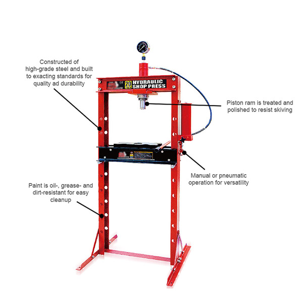 X5 20 TON Shop Press With Gauge