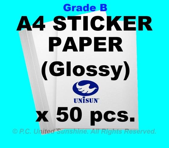 x50pcs A4 STICKER PAPER (Glossy) Grade B Creative Fun Label Stickers