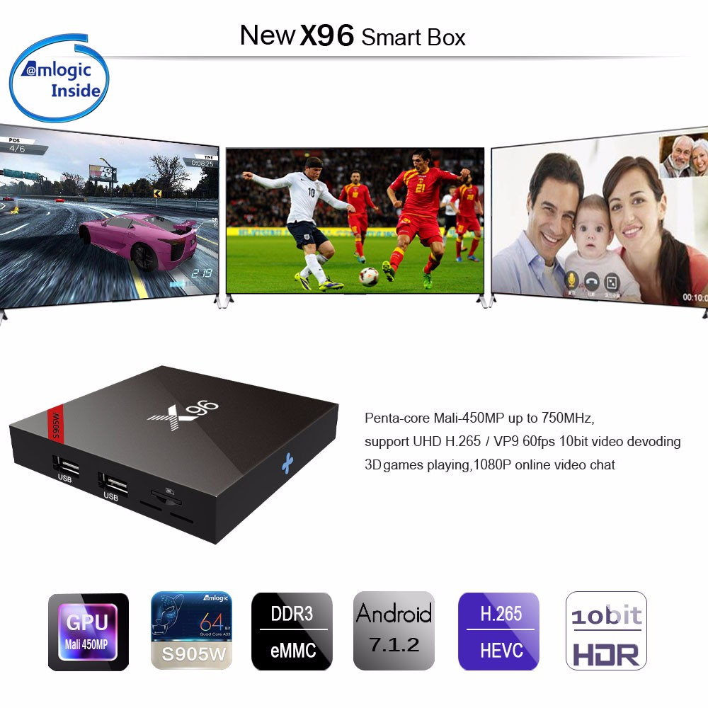 X96W Android TV Box Amlogic S905W Bluetooth 1GB + 8GB