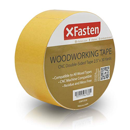 XFasten Double Sided Woodworking Tape w/Yellow Backing 2.5 Inches x 30 Yards