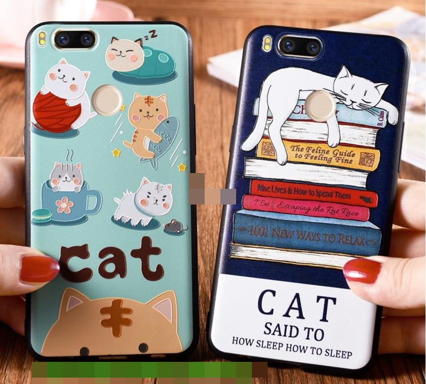 Xiaomi Mi 6 5 5C 5X A1 Cat Cartoon Silicone Back Case Cover Casing