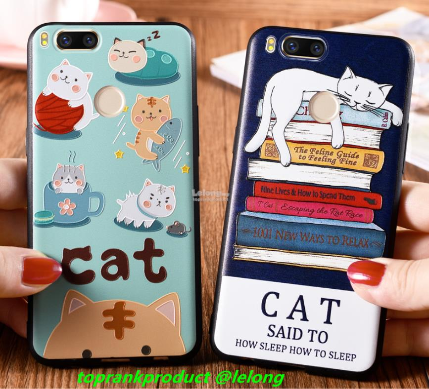 Xiaomi Mi Max 2 5X A1 3D Relief Cat Silicone Back Case Cover Casing