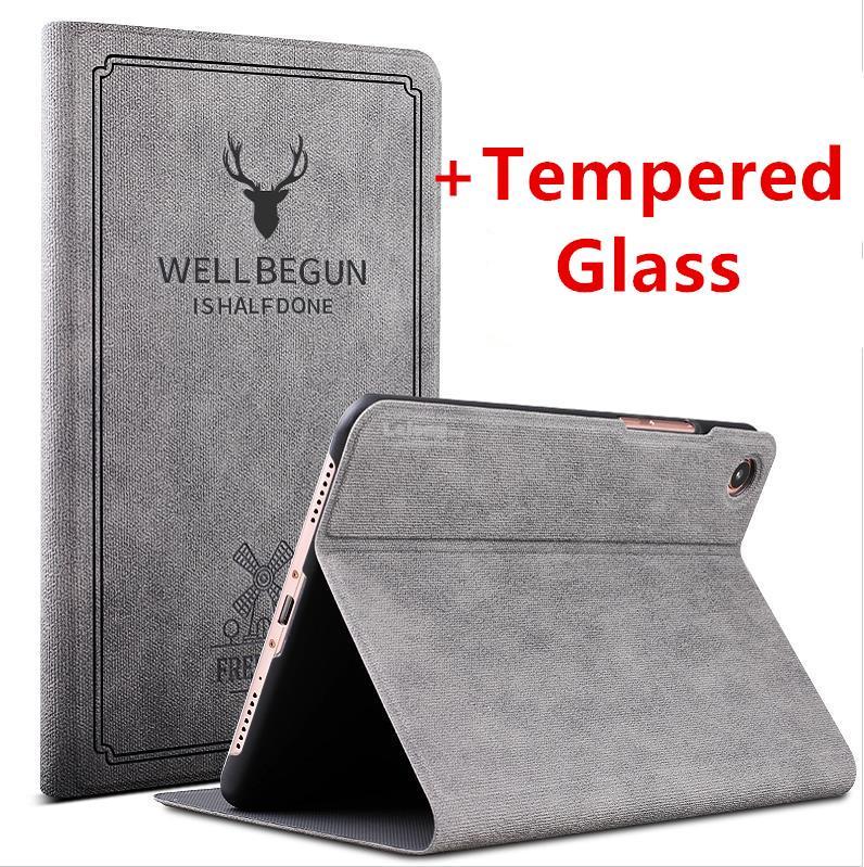 huge discount f4acb 2d8d7 Xiaomi Mi Pad 4 / Plus Flip Smart Case Cover Casing +9H Tempered Glass
