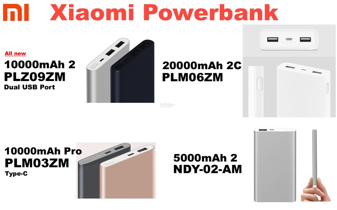 XIAOMI MI Power Bank 5000mah, 10000mah v2 20000mah 2 2C Powerbank PRO
