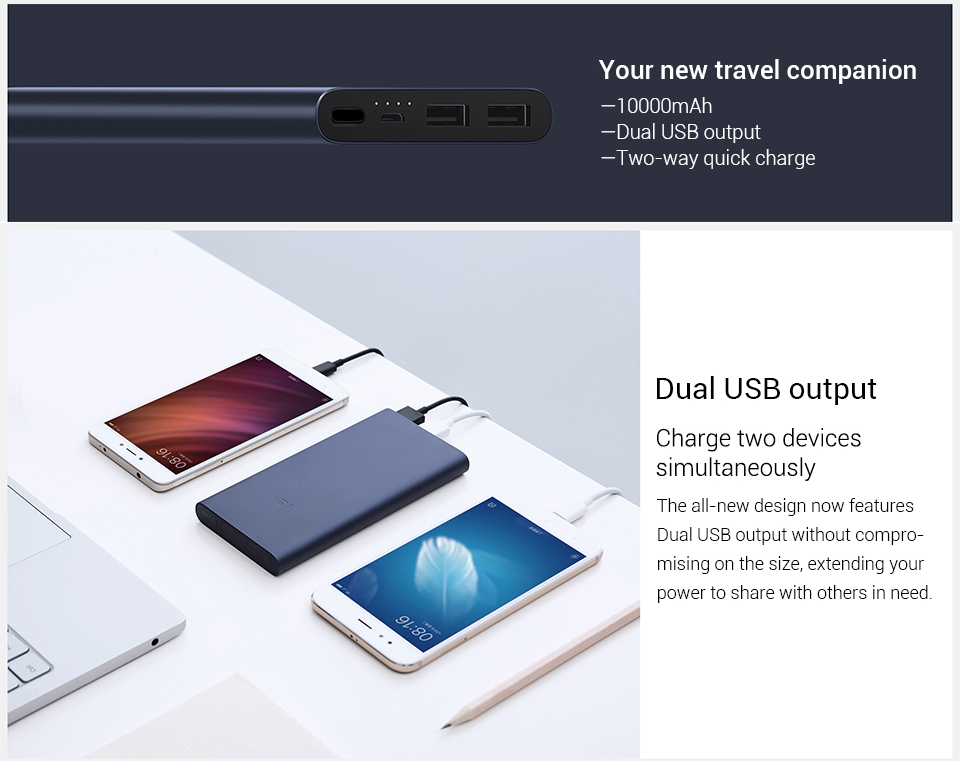 XiaoMi Mi PowerBank 10000mah 2i Dual USB Quick Charge Original PLM09ZM