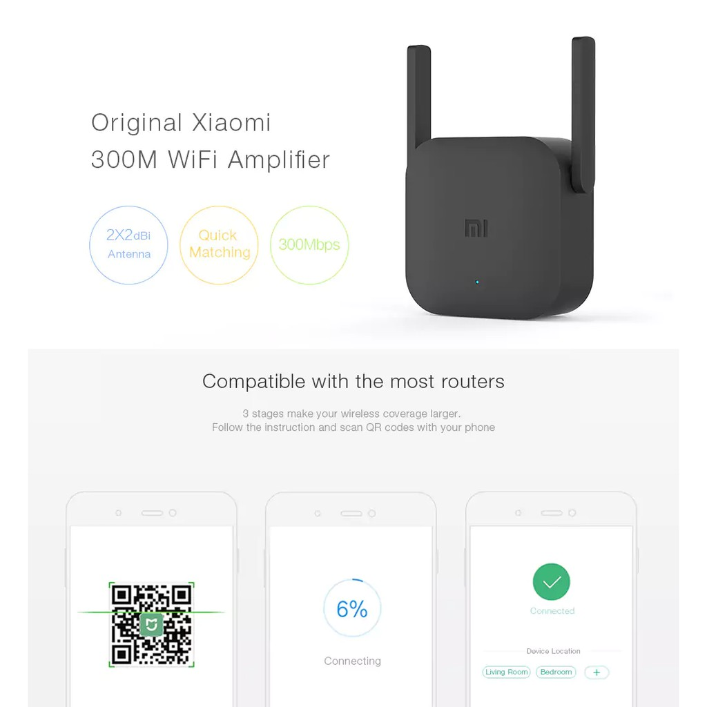 XiaoMi Mi WiFi Repeater 2 Pro 300Mbps 2.4Ghz 2X2 Antenna WiFi Repeater