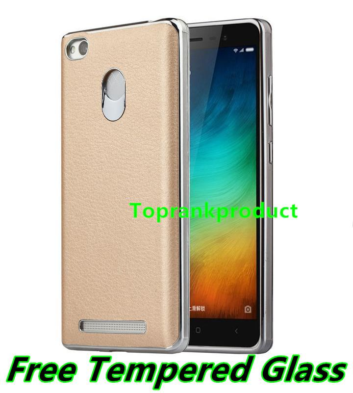 Xiaomi Redmi 3 3S / Pro Leather TPU Case Cover Casing + Tempered Glass