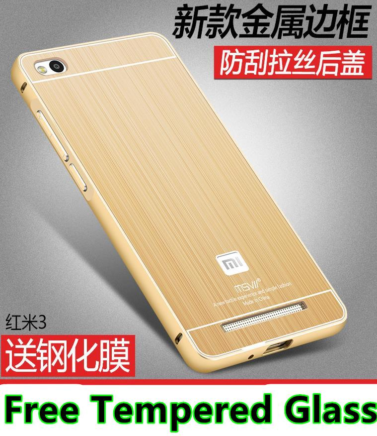 various colors 09623 fb85f Xiaomi Redmi 3 3S / Pro Metal Bumper Case Cover Casing +Tempered Glass