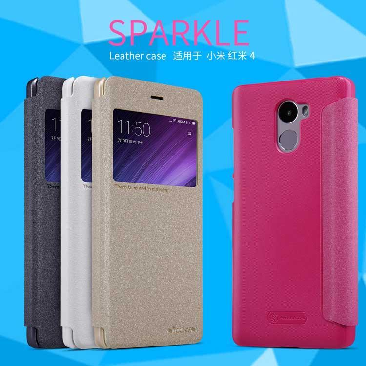 uk availability 1744a 12fca XiaoMi Redmi 4 4A Pro Prime Nillkin Sparkle Leather Flip Case Cover