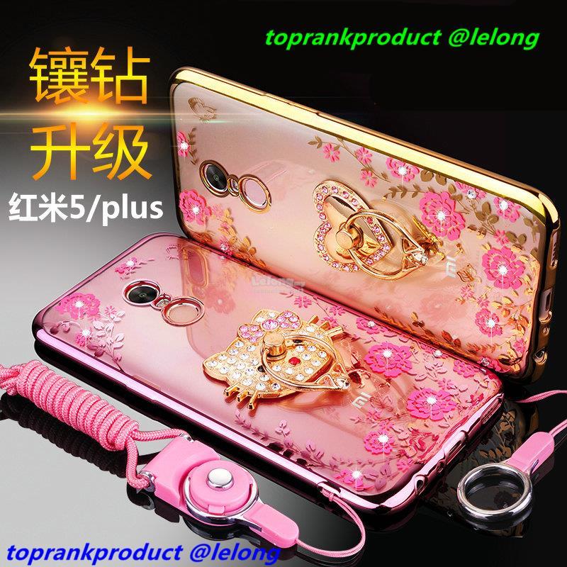 best authentic 751d4 13a72 Xiaomi Redmi 5 / Plus Diamond TPU Back Case Cover Casing + Ring Holder