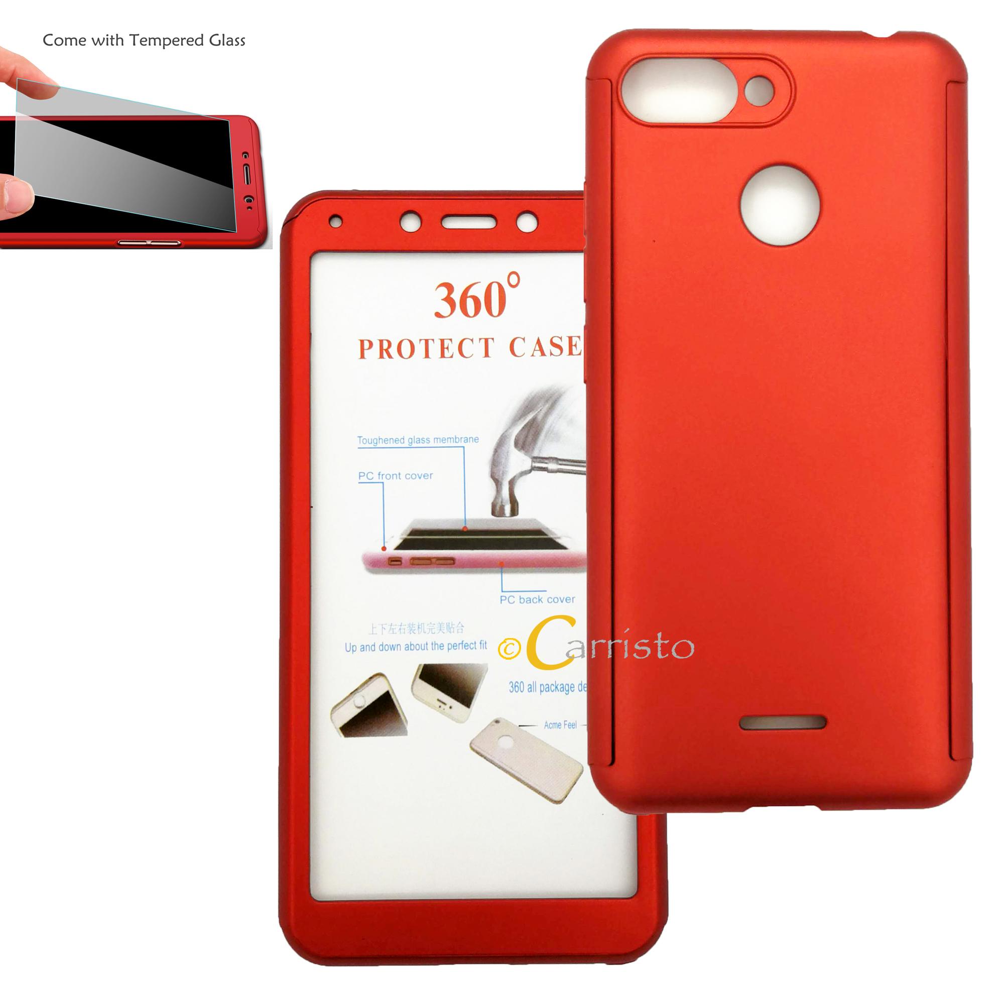 hot sale online 6e208 5404b Xiaomi Redmi 5 Plus Redmi 6 360 Degree Full Cover Case With Tempered G