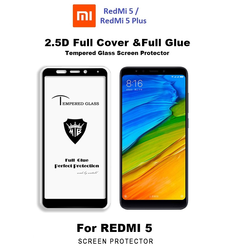 XiaoMi RedMi 5 /Redmi 5 Plus Full Glue Tempered Glass Screen Protector