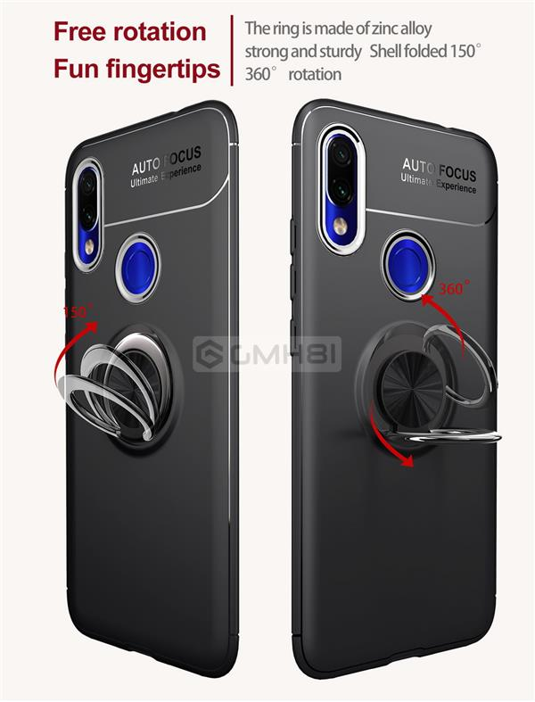 Xiaomi Redmi 7 Invisible Ring Buckle Tough Armor TPU Bumper Cover Case