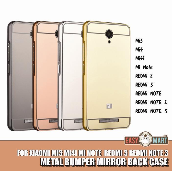 best website 7c848 fe222 Xiaomi Redmi Note 2 3 Mi4i Redmi 2 Mirror Metal Bumper Case Casing