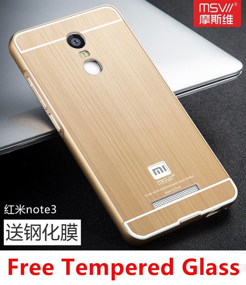 quality design 9d560 fb3ae Xiaomi Redmi Note 3 Pro Metal Frame Case Cover Casing + Tempered Glass