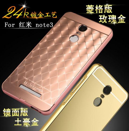 online retailer 75cd8 e4e82 XIAOMI REDMI NOTE & REDMI NOTE 2 3 3D MIRROR metal Bumper Back Case