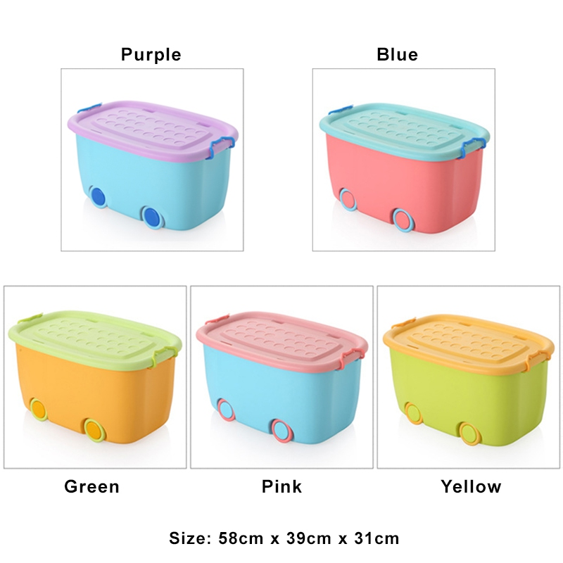 XL Size Multifunctions Stackable Toy Storage Box Wheel Cartoon Contain