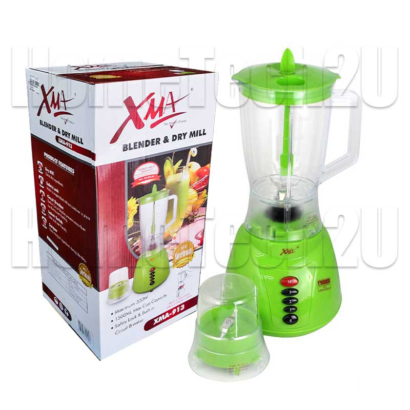 XMA Blender XMA-913 300W 1.5L Plastic Jar + Dry Mill With Safety Lock