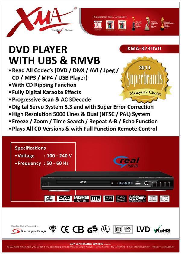 XMA DVD Player With USB Divx Mpeg4 DVD DvD+R VCD CD CD+R MP3 WMA XMA-2