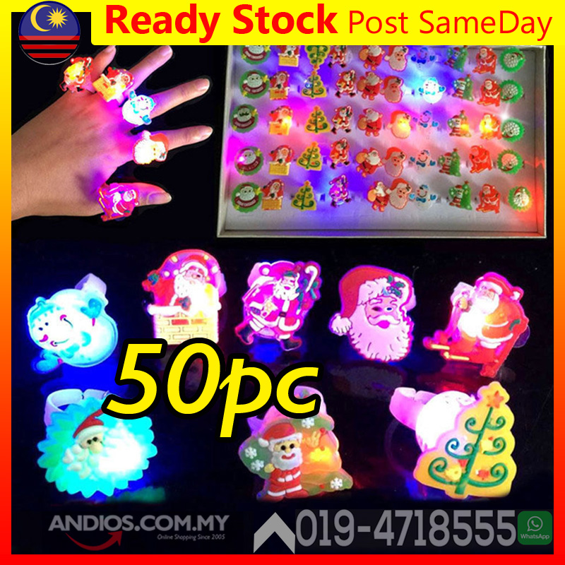 Xmas Christmas LED Flashlight Ring Light Kid Children Party Gift Lampu