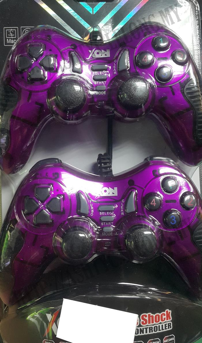 XON DOUBLE USB VIBRATION TURBO GAMEPAD FOR PC (PURPLE)