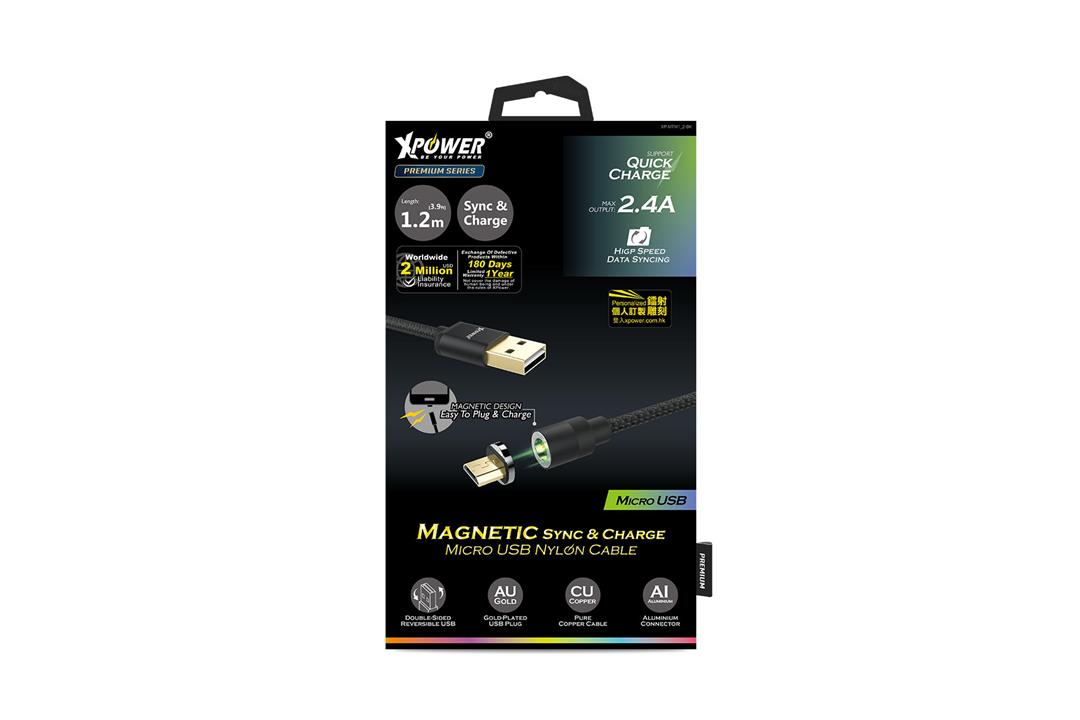 Xpower 1M Magnetic Micro USB  Nylon Cable - Black