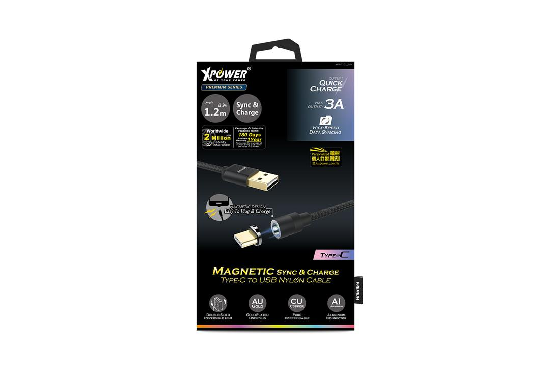 Xpower 1M MagneticType-C Nylon Cable - Black
