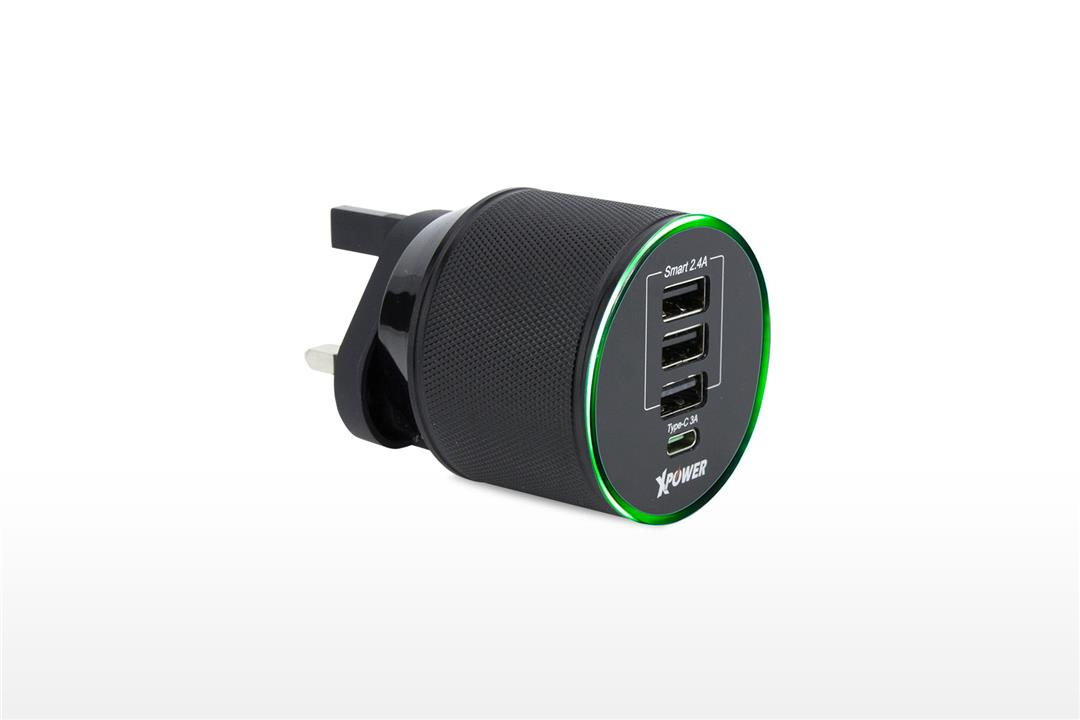 XPower WC4C 4 Port 7.4A Aluminium Alloy Travel Charger w/LED - Black