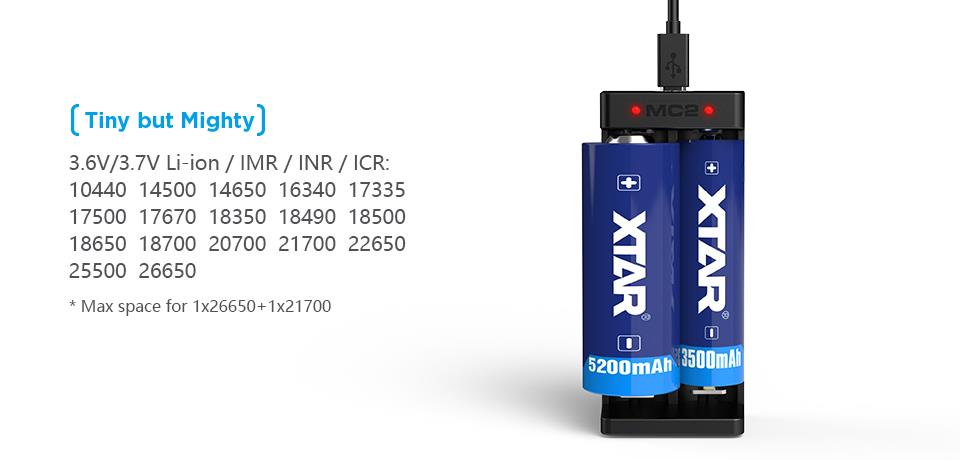 Xtar MC2 Charger for Battery 14500/16340/17670/18350/18650/22650/25500