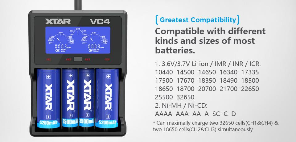 Xtar VC4 Charger for Battery 14500/16340/17670/18350/18650/22650/26650