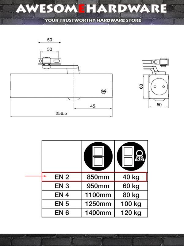 YALE C-77EN2 SIZE 2 40KG FIRE RATED DOOR CLOSER (SILVER)