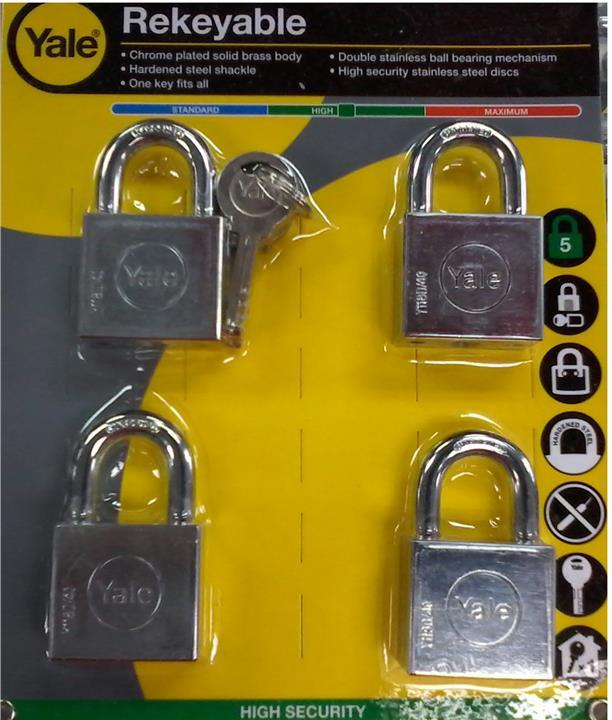 Yale Y118D/40/121/4 4 Pcs 40mm Chrome Square Disc Padlock
