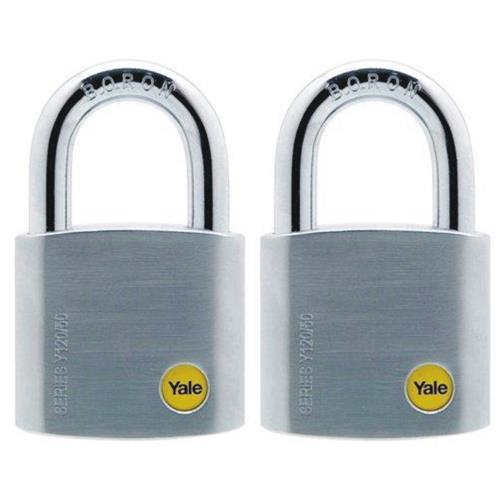 YALE Y120/50/127/2 2PCS 50MM SATIN CHROME BORON SHACKLE PADLOCK