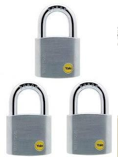 YALE Y120/50/127/3 3pcs 50mm Chrome Boron Shackle Key Alike Padlock
