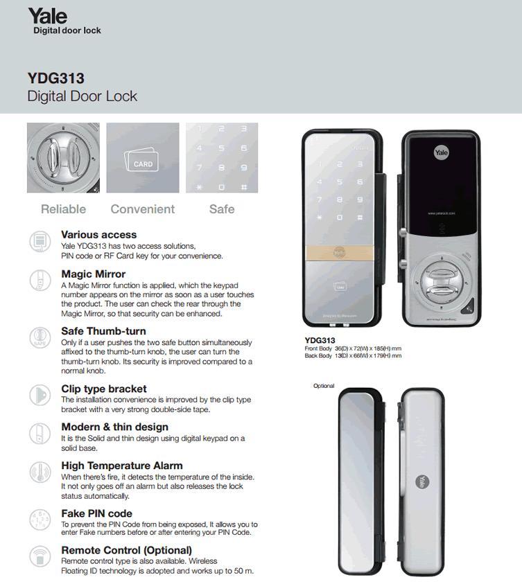 Yale Ydg 313 Digital Glass Door Lock End 6 1 2022 10 15 Pm
