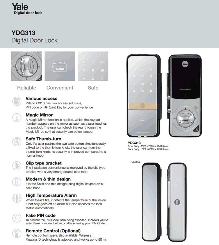 YALE YDG 313 + SP 313 DIGITAL GLASS DOOR LOCK  ( DOUBLE )